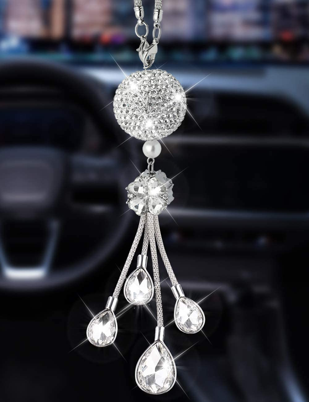 White Alonar White Ball and Drops Bling Car Interior Accessories Sparkly Crystal Car Rear View Mirror Charms Decor Hanging Bling Car Pendant
