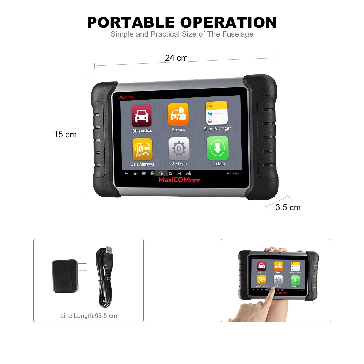 Autel MaxiCOM MK808 is one of the best professional automotive diagnostic scanners on the market that offers portable operation.