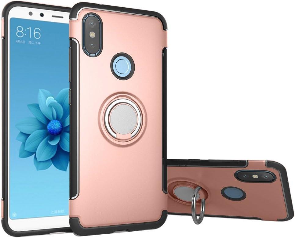 Funda Xiaomi Mi A2 / 6X, LAGUI Doble Capa Carcasa Con Anilla posterior, oporte de Montaje Magnético del Coche Cáscara Especial, rosa dorada