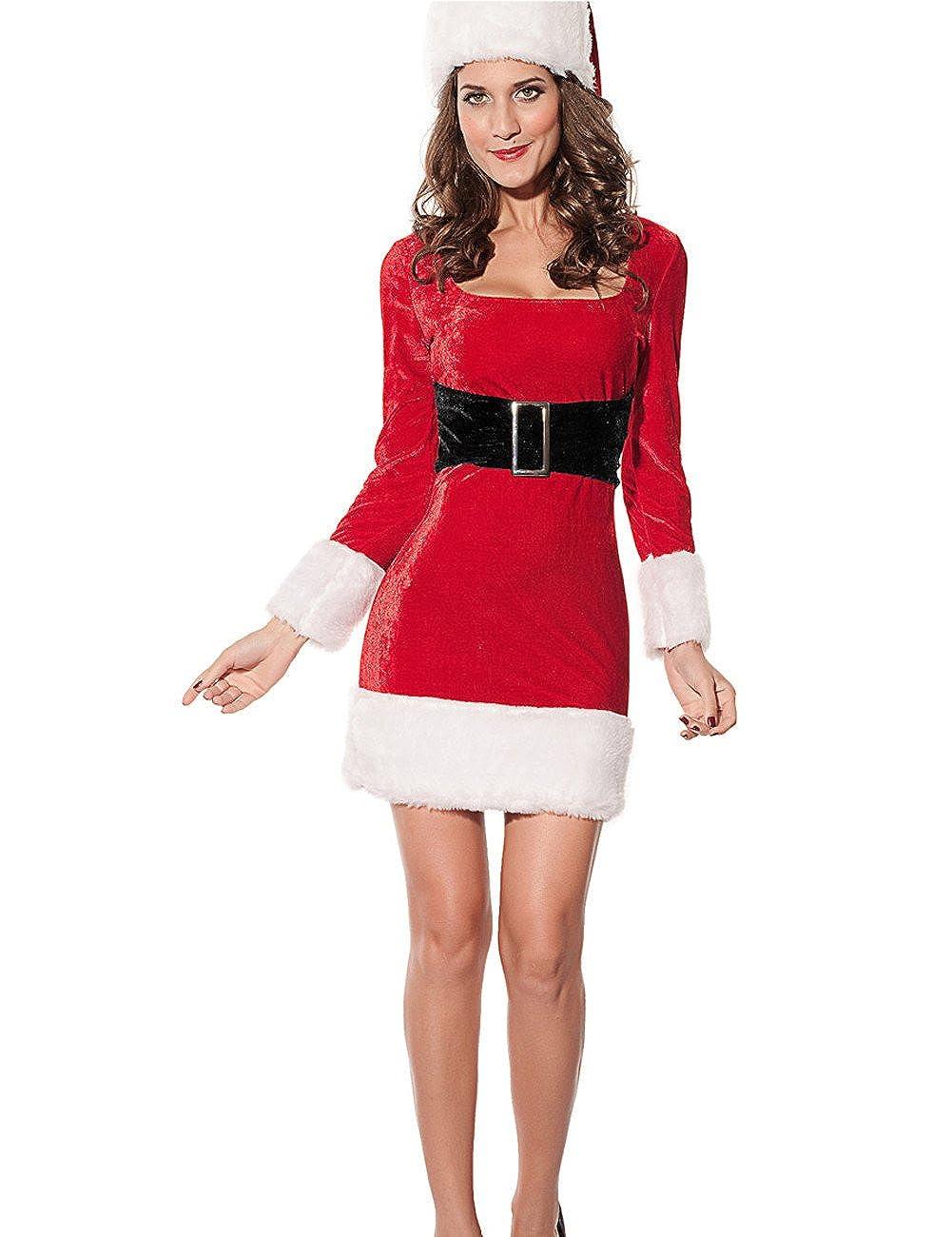 Amazon Com Yoll Women S Sexy Santa S Wife Claus Dress Costume And