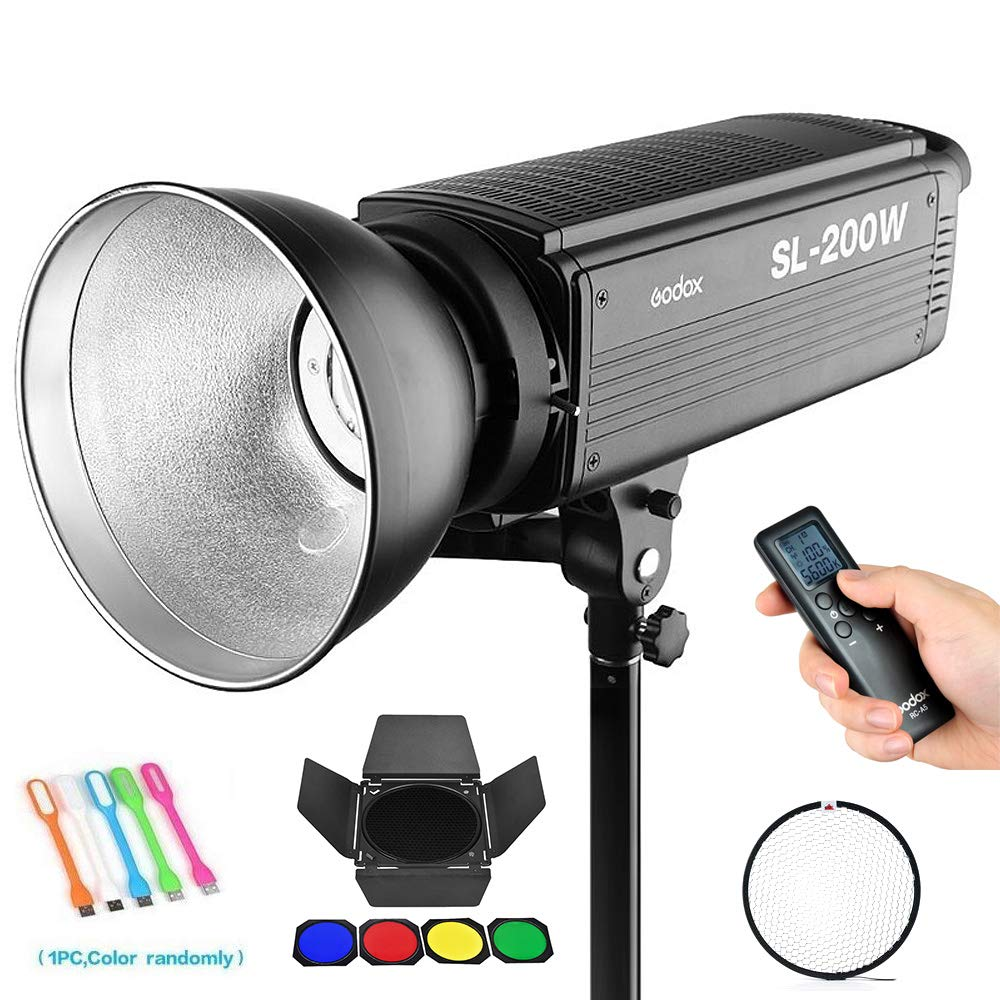 Godox SL-200W 200W CRI95+ 5600K White Version LED Video Light, Continuous Output Photo Lighting with Bowens Mount for Video Recording,Children Photography,Wedding,Outdoor Shooting (110V)