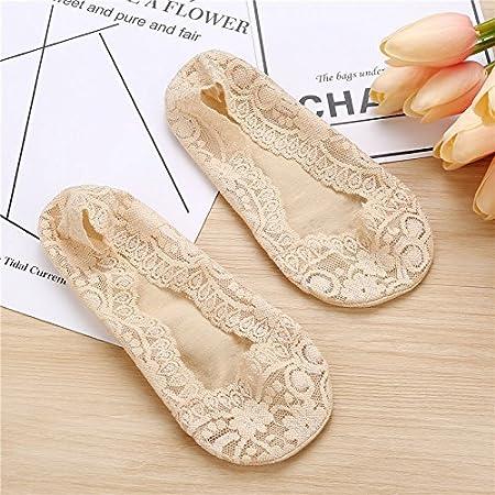 EQLEF 2 Pares de Verano Sección de Encaje Fino Invisible Calcetines del Cordón Calcetines del Barco de Gel de Sílice Antideslizante Zapatos de Las Señoras ...