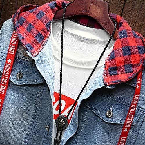 Camicetta Jacket Plaid Con Blu Giacca Top Cappotto Vintage Patchwork Uomo Jeans Giubbotto Casual Strappati Primavera Topgrowth Cappuccio PCfRqwZ