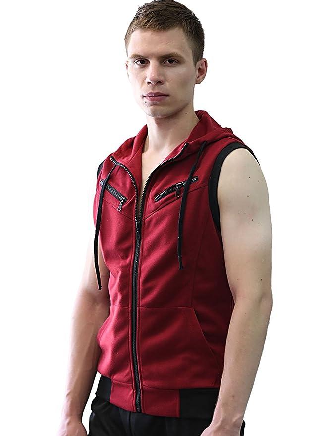 Allegra K Men Zip Up Hoodies Kangaroo Pocket Casual Hooded Vest Burgundy S:  Amazon.co.uk: Clothing