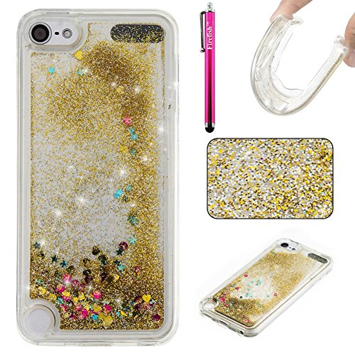 iPod Touch 5 Case, Firefish Slim Dynamic Flowing [Anti-Slip] Flexible TPU [Scratch Resistances] Protective Cover for Girls Children Fits for Apple iPod Touch 5 -Golden