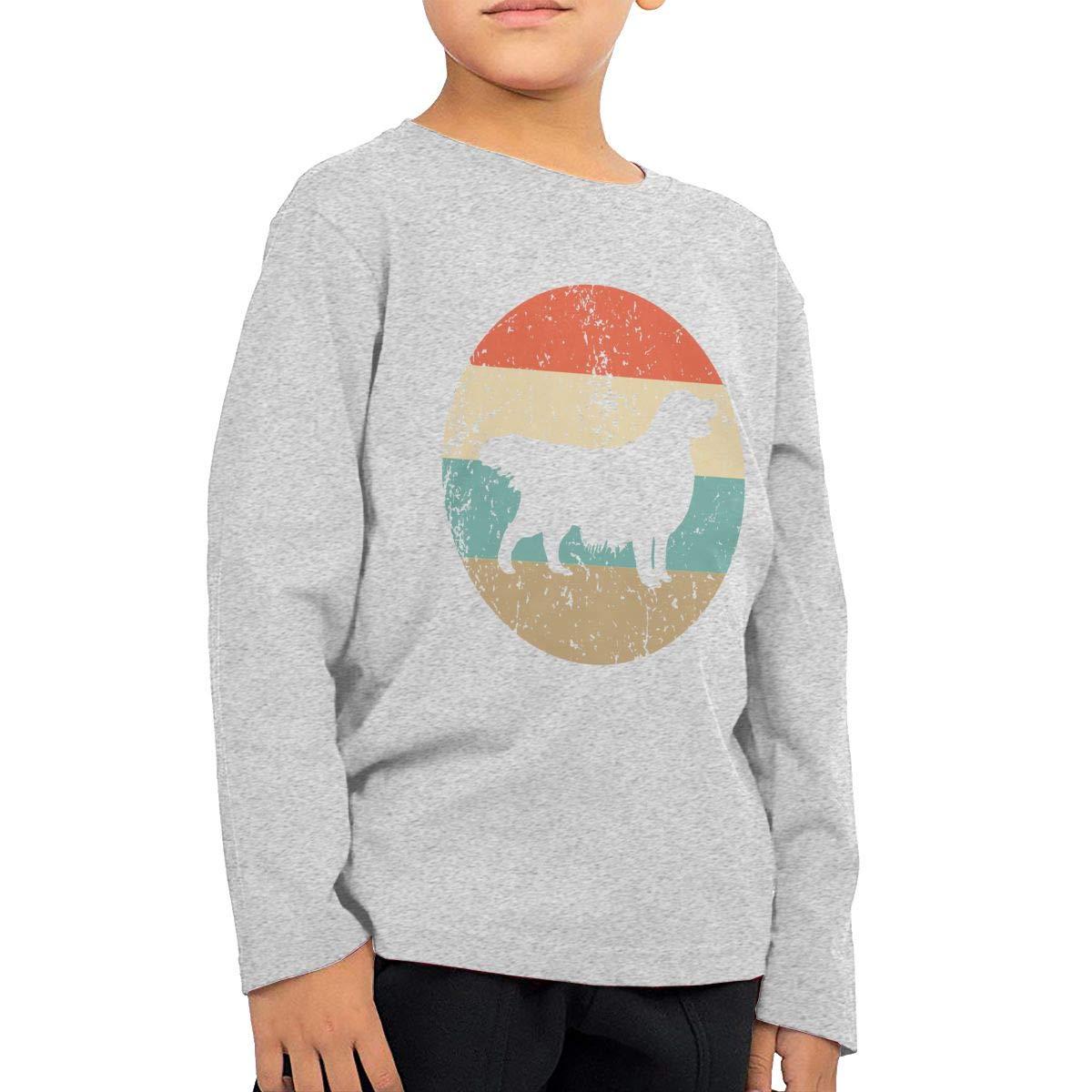 Retro Golden Retriever Kids T-Shirt Long Sleeve Boys Girls T-Shirt