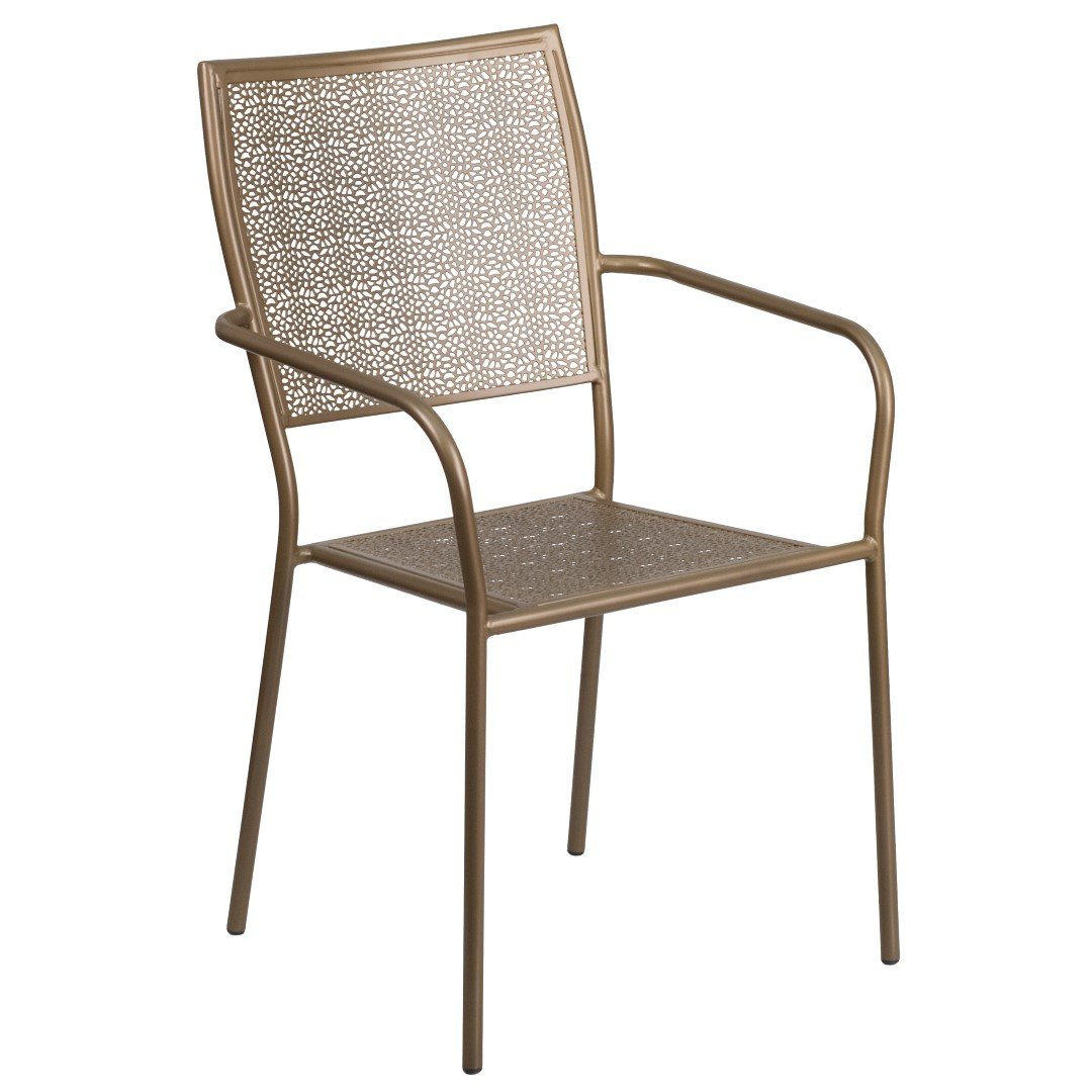 MFO Gold Indoor-Outdoor Steel Patio Arm Chair with Square Back