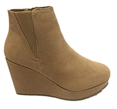 Mabel-04 Bamboo Womens Round Closed Toe Platform Wedge Heel Ankle Boots New