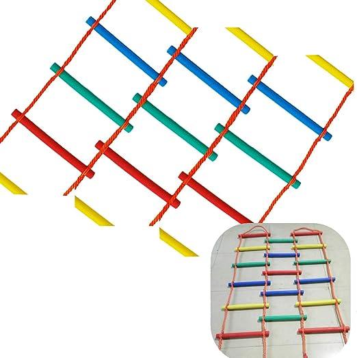 FIREDUXYL Escalera de Cuerda de Escape de Emergencia para niños, Escalera de Cuerda de Tres eslabones, Juegos de Columpios para Parques Infantiles, Accesorios de la casa del arbol (2m): Amazon.es: Hogar