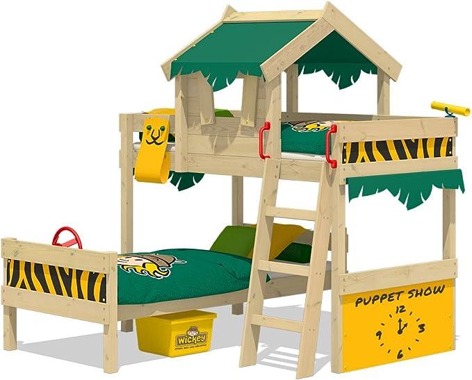 WICKEY Litera CrAzY Jungle Cama alta Cama de matrimonio infantil 90x200 con somier de madera y techo, verde-amarillo