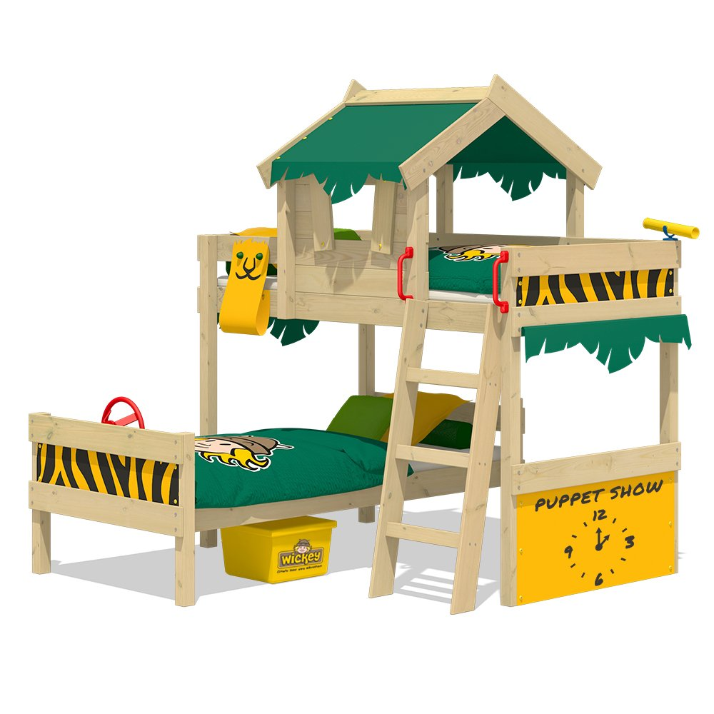 wickey bunk bed crazy jungle loft bed twin bed for children withwickey bunk bed crazy jungle loft bed twin bed for children with slatted bed base and roof, green yellow amazon co uk diy \u0026 tools