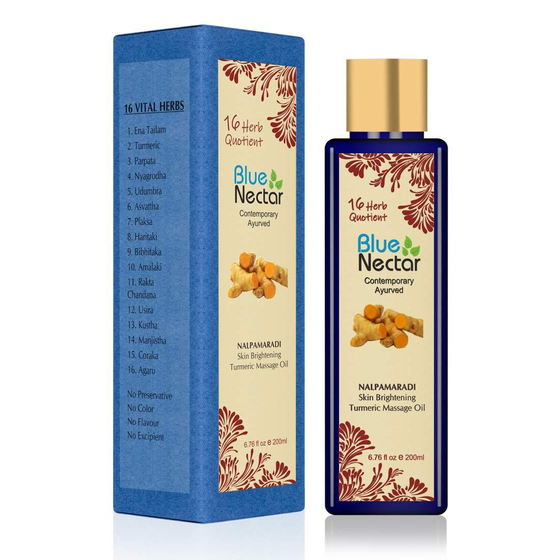 Blue Nectar Nalpamaradi Tailam Skin Brightening and Radiance Oil with Turmeric and 16 Ayurvedic Herbs