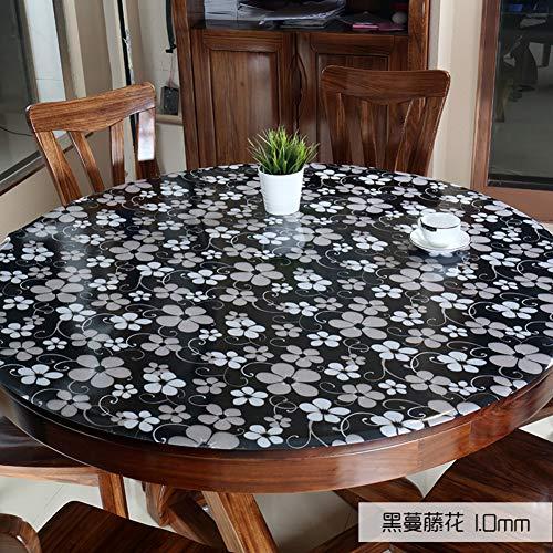 F1.0mm diamètre 130cm QTQHOME Transparent PVC Table Prougeection Nappe,Plastique Vinyle Lavable Circulaire Imperméable à Manger Nappe de Table,Bureau Mat Coussin Circulaire-F1.0mm diamètre 130cm