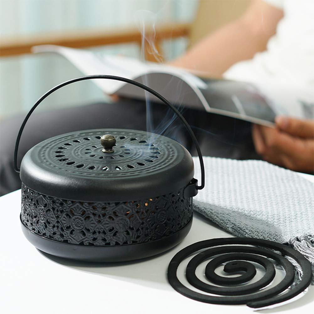 Whthteey Classical Design Mosquito Coil Holder with Handle Round Iron Mosquito Incense Burner for Home (Black) by Whthteey (Image #3)