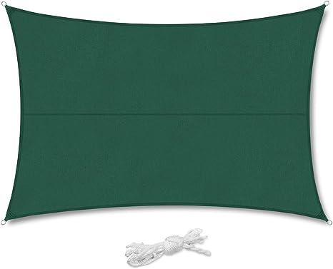 Sekey Toldo Vela de Sombra Rectangular Protección Rayos UV, Resistente Impermeable Transpirable para Patio, Exteriores, Jardín, 3 * 4m Verde, con ...