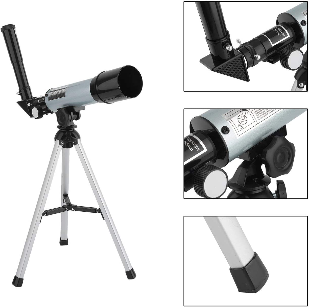 Elviray Outdoor Portable Adjustable Refractor Spotting Scope Astronomical Telescope Monocular With Tripod For Beginners