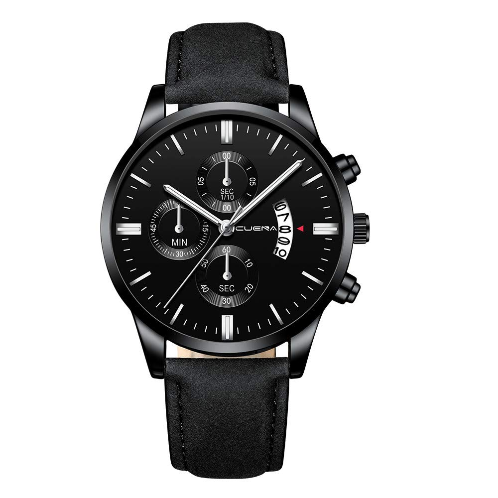 Hot Sale! Gibobby Mens Watch, Luxury Leather Belt Quartz Analog Sport Date Wristwatches Chronograph Business Calendar Wrist Watches Gifts for Man