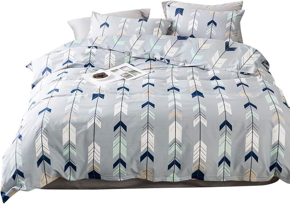BuLuTu Cotton Arrow Kids Bedding Duvet Cover Sets Queen Grey for Boys Girls Reversible Botanical Teen Bedding Sets Full Zipper Closure for Children,1 Duvet Cover + 2 Pillowcases,Queen