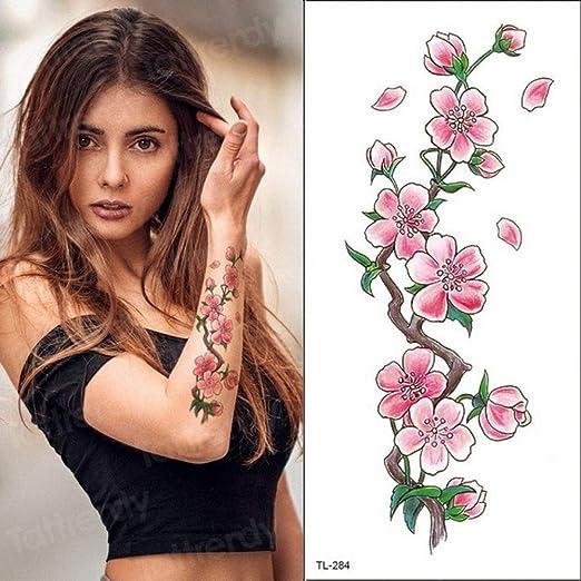 Handaxian 3pcsPúrpura Flor Tatuaje Impermeable Mujer niña peonía ...