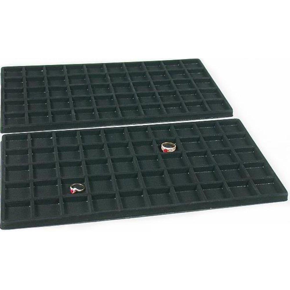 2 Black 50 Slot Pendant Jewelry Showcase Display Tray Inserts 96-50BK (2)