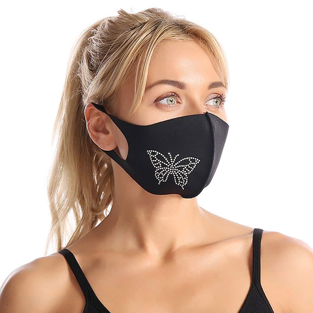 Sparkly Rhinestone Masquerade Mask Women Girls Fashion Shiny Bling Diamond Face Protective Bandanas Anti-Dust Facial Cover Venetian Mardi Gras Party Facemask Mouth Nose Shield Black,1pc
