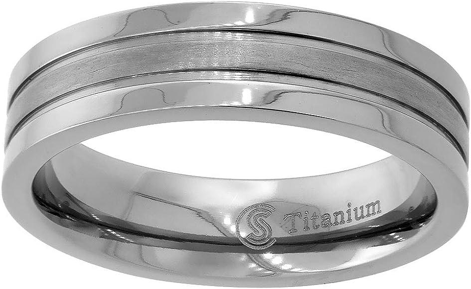 Titanium Ring Men Women Wedding Band Beveled Edge Brushed Finish Flat 6mm