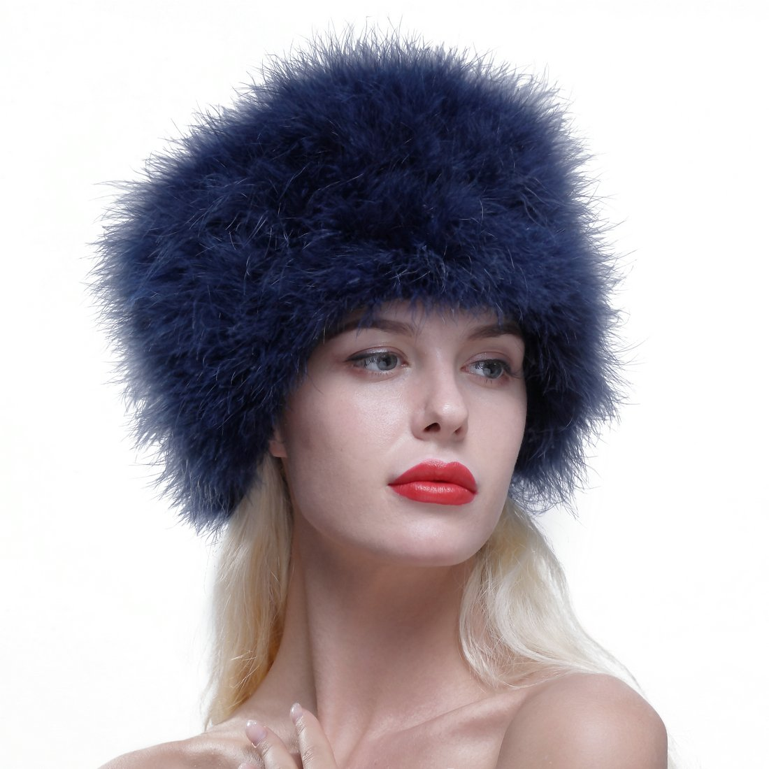 URSFUR Women Winter Fur Cap Genuine Ostrich Feather Fur Pill Box Hat Blue .Ltd. GCID-2016-H-06-1