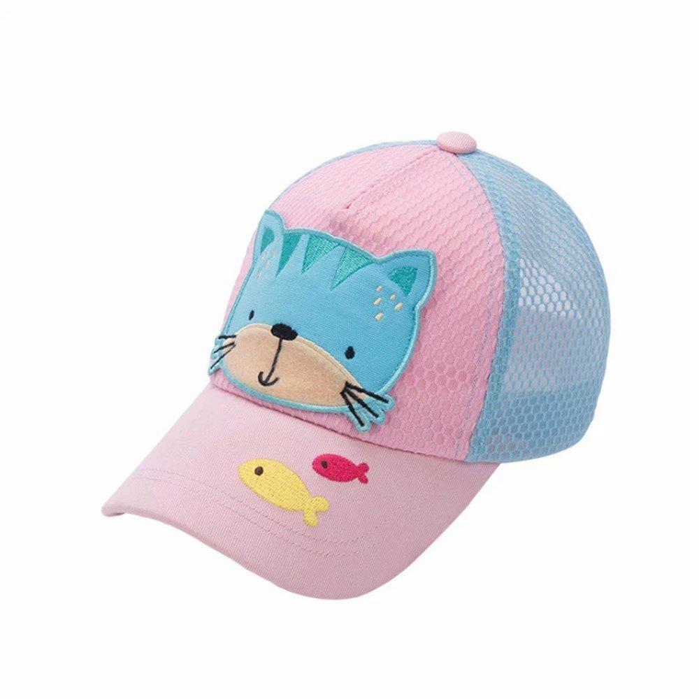 Emigeno Little Girls Baseball Cap UPF 50+ Sun Hat, Age 2-8 Pink