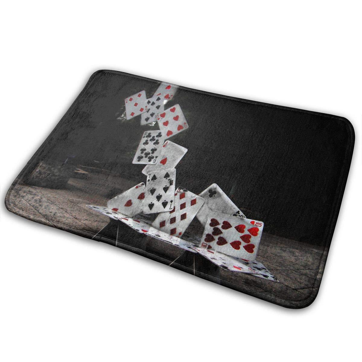 JTLCBC Abstract Castle of Cards Poker Entry Way Outdoor Door Mat Bathroom Comfort Mats Rubber Non Slip Backing Indoor Uses