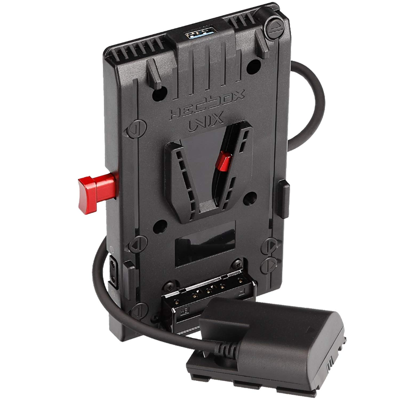 HEDBOX | Unix-LPE6 | V Mount/Lock Battery Adapter Plate, with 1x USB 5V/2.1A and 3X D-Tap 14.8V/148W Power Out, for Canon EOS 5D/6D/7D/60D/70D/80D DSLR Cameras, via LP-E6 housing