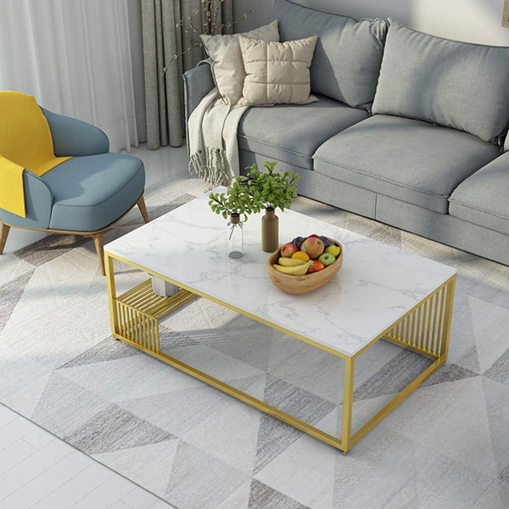 2020 WYJW Moderne woonkamertafel | rechthoekige cocktailtafel van marmer mid-century | salontafel voor kantoor | met legplank | zwart-wit Wit. 5CVnN5R