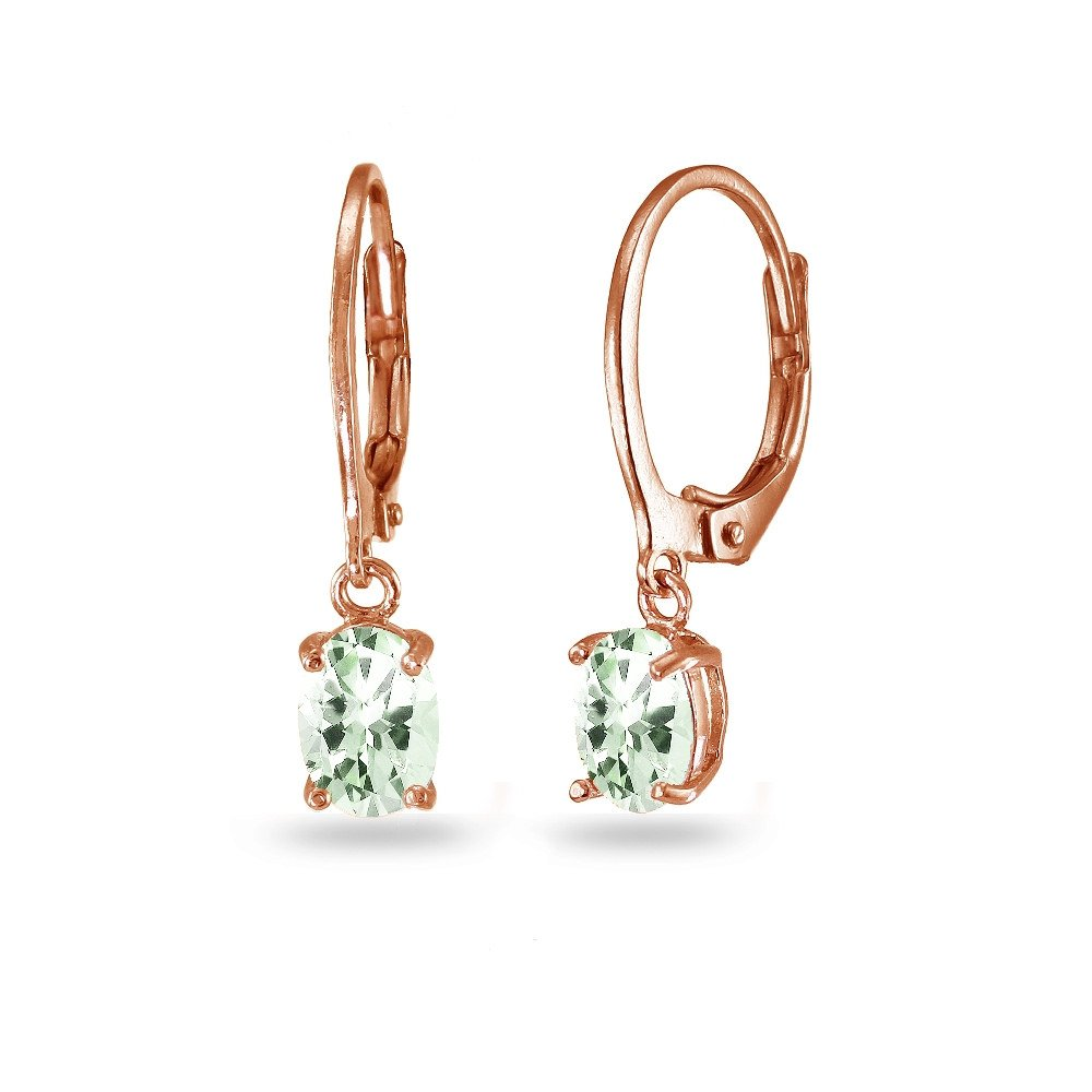 LOVVE Rose Gold Flashed Sterling Silver Green Amethyst 7x5mm Oval Dangle Leverback Earrings