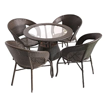 Global Corporation D12 set 4 chair and 1 table with glass