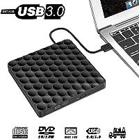 Externes CD DVD Laufwerk USB 3.0, Tragbarer Extern DVD Brenner Ultra Slim Optischer CD-RW DVD-Row Schriftsteller Spieler für MacBook OS Windows Chromebook PC MacBook Laptop