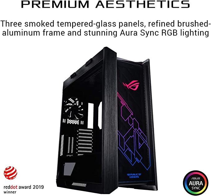 Up to 8 Fans LED Fan ASUS ROG Strix Helios Semi-Tower Case with Acrylic Window 8 Expansion Slots Microphone USB 3.0 HD Audio ATX
