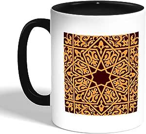 كوب سيراميك للقهوة بتصميم رسم تشكيلي ، اسود