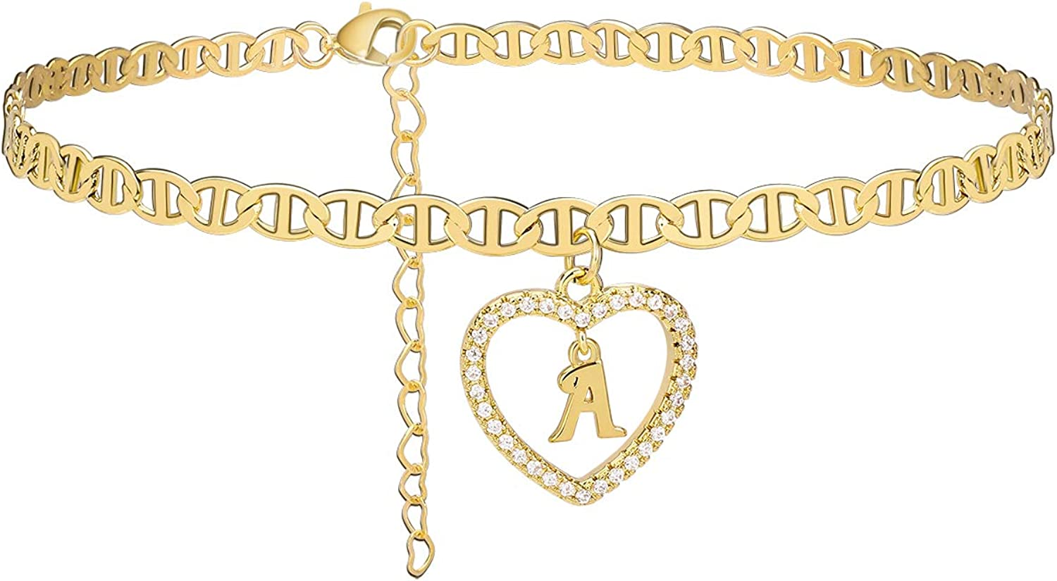 Estendly Initial Anklet 14K Gold Plated Cubic Zirconia Heart Mariner Chain Ankle Bracelets 26 Letters Alphabet Foot Jewelry Gift for Women