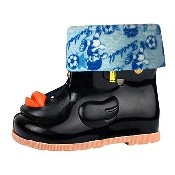 Yezijin Infant Kids Children Baby Cartoon Duck Rubber Waterproof Warm Boots Rain Shoes Multi-Function