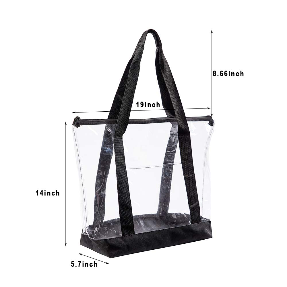 Large Clear Tote Bag, Fashion PVC Shoulder Handbag for Women, Clear Stadium Bag for Security Travel,Shopping,Sports and Work