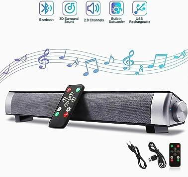 Barra de sonido, Barra de sonido de TV con subwoofer estéreo inalámbrico, 10W 2.0 canales Altavoz inalámbrico Bluetooth 4.0 para TV, TF Card/Aux/USB, Sonido envolvente ajustable bajo para Cine en casa: Amazon.es: