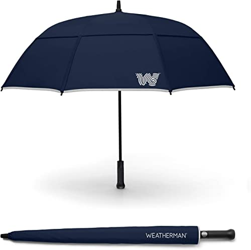 The Weatherman Umbrella – Stick Umbrella Made with Teflon-Coated Fabric and Withstands Winds Up to 55 MPH – Available in 6 Colors Navy Blue