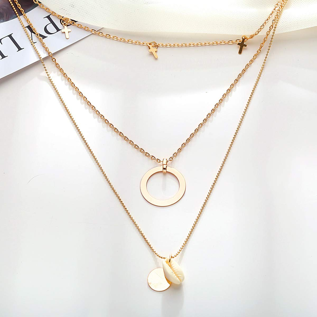 Peigen 2019 New Multilayer Crystal Shell Pendant Necklaces for Women Vintage Charm Choker Necklace Statement Party Jewelry Gift
