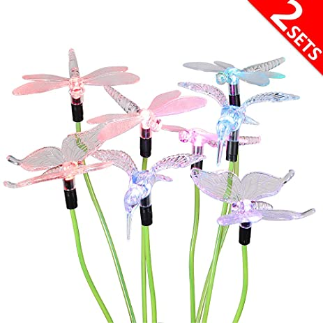 [4LED Version] 2 Sets Solar Decorative Garden Lights, Hallomall Color  Changing Outdoor Stake