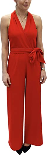 Julia Jordan Women's Halter Jumpsuit with Tie Waist
