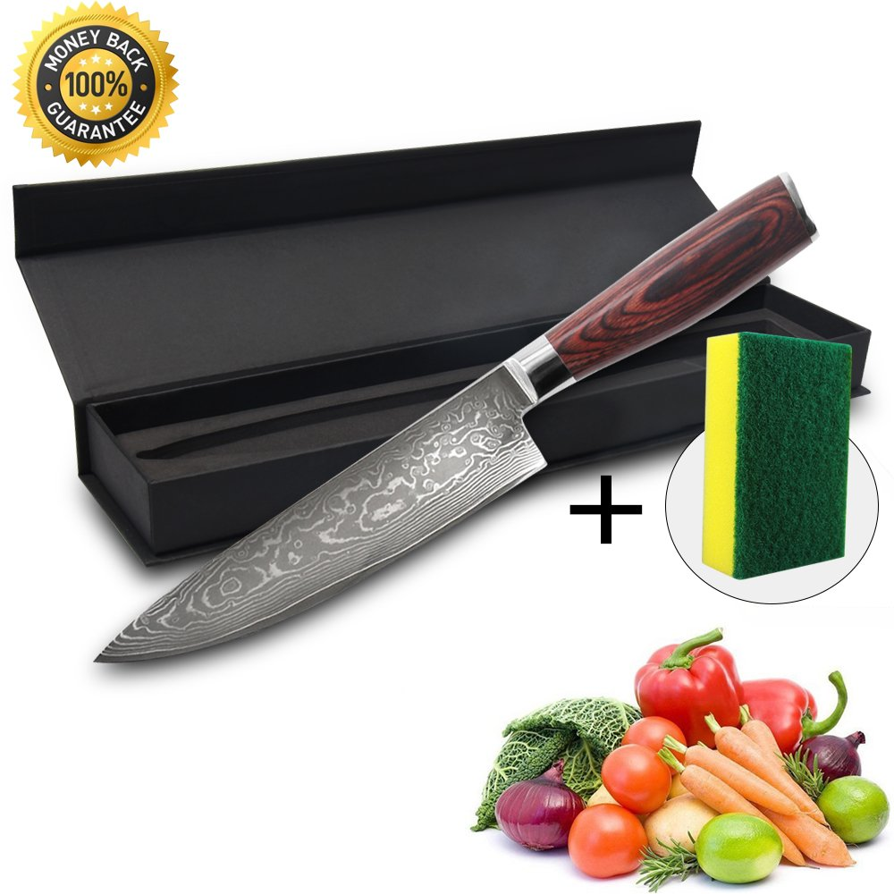 Kitchen Knife,Chef's Knife,Specialty 8'' 7Gr17Mov High Carbon Stainless Steel With Presented Exquisite Gift Box and Sponge Mat,Sharp Blade Let Sliced Meat Easily,Arabesquitic.
