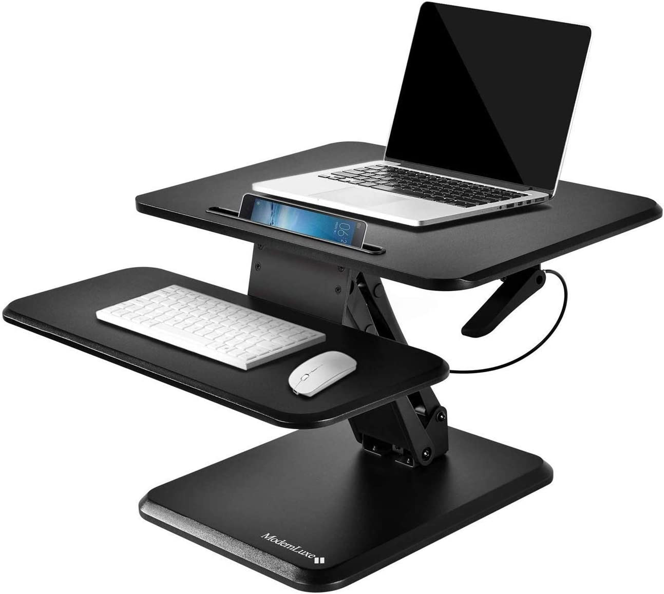 MIERES Standing Converter Desk I-Shaped Bracket Base Phone Holder Double Tray Design Laptop Desktop Workstation, Black
