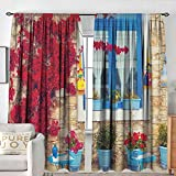 "NUOMANAN Blackout Curtains Coastal,Italian Design Mediterranean House with Greek Windows Print, Pale Brown White and Navy Blue,Rod Pocket Curtain Panels for Bedroom & Kitchen 84""x84"""