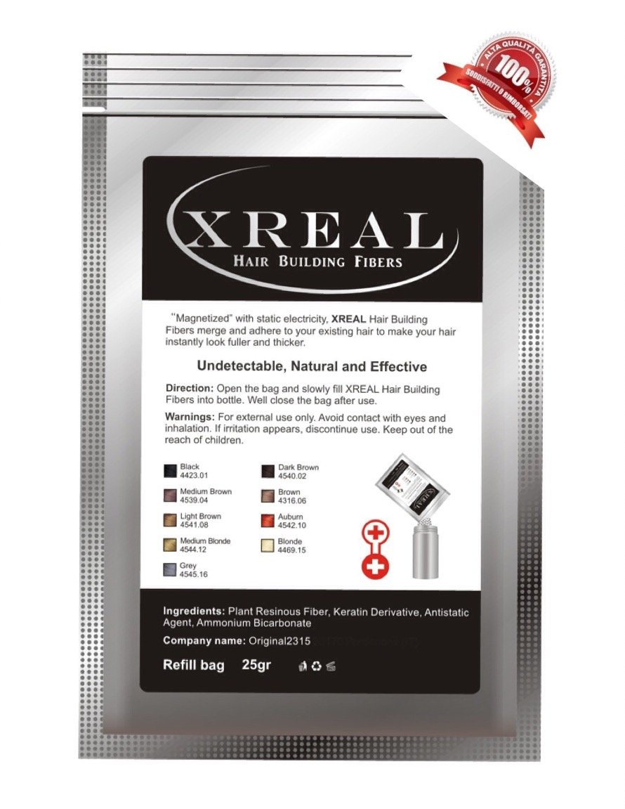 XReal Hair Fibers refill 25g Microfibre di Cheratina anti diradamento capelli (Castano Chiaro (light brown))