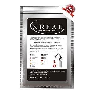 xreal Microfibras de queratina para el pelo, 25 g, anticlareo del pelo Castano Scuro (dark brown)