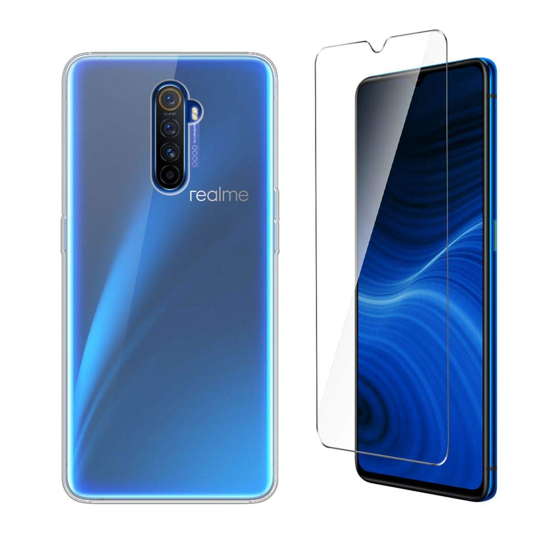 "LJSM Case for Realme X2 Pro + Tempered Film Glass Screen Protector - Transparent Silicone Soft TPU Cover Shell for Oppo Realme X2 Pro (6.5"") -Clear"